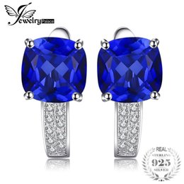 $enCountryForm.capitalKeyWord NZ - JewelryPalace Cushion 4.6ct Created Blue Sapphire Clip On Earrings 925 Sterling Silver Statement Jewelry Fine Jewelry Y1892905
