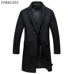 Wholesale winter men wool pea coat for sale - Group buy Men s Long Wool Trench Coat Brand New Wool Blends Winter Men Cashmere Coat Slim Fit One Button Fashion Male Pea XL