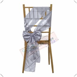 wedding chair cover prices UK - Wholesales price Free shipping Pintuck Taffeta chair bands Silver chair sashes for chair cover Hotel decorations Colorful