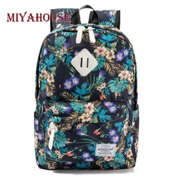 preppy style backpack NZ - Preppy Style Female Backpacks Vintage Floral Print Bookbags Canvas School Bag For Teenager Girls Travel Rucksack