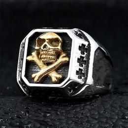$enCountryForm.capitalKeyWord Australia - Mens Pirate Skull Ring 316L Stainless Steel Punk Vintage Biker Rings Jewelry for Men Women Size7-14