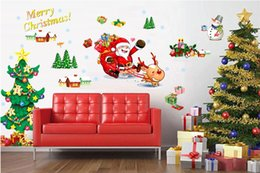 Adhesive Window Stickers Australia - Christmas Tree Santa Claus Wall Stickers Xmas Snowman Art Decals Mural Removable Wallpaper for Window Living Room Bedroom Home Decor