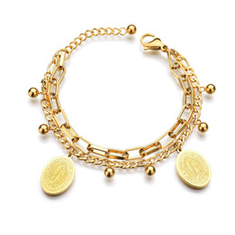 $enCountryForm.capitalKeyWord NZ - Hot Women Bracelet Stainless Steel Chain Bracelet With Religious Virgin Mary Tag Charms Gold Plated Bracelets For Girls