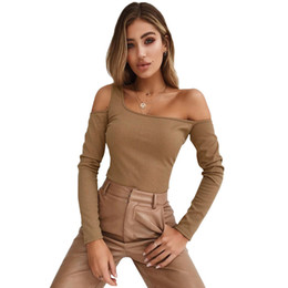 17318f4a Sexy Women Ribbed Knit T-Shirt Cutout Off Shoulder Long Sleeve Camiseta  Mujer Autumn Winter Slim Tops 2018 Autumn Jumper Tshirt