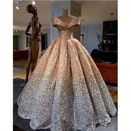 5c526dc1e1b0 Lebanon Luxury Prom Gowns Shiny Mix Sequined Long Empire Abiye Formal Dress  Robe De Soiree puffy skirt dubai evening dress 2018 Abendkleider
