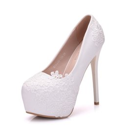 Lace Shoes For Women NZ - New Summer elegant Round toe shoes for women White Lace Flowers high heel wedding shoes thick heels Plus Size Shoes