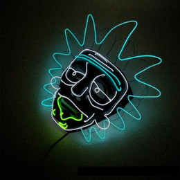 halloween rave 2018 - New Night Party Cosplay Lighting Grimace Mask LED Light Flashing Skull Mask Skeleton Halloween Rave Party Favor Cosplay