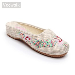 Chinese Embroidered Flats Shoes UK - wholesale Crane Embroidered Women  Linen Cotton Close Toe Slippers Vintage 126e6bfdd1c9