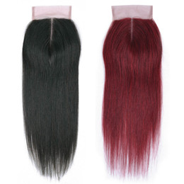 China Brazilian Malaysian Peruvian Straight Human Hair Weave 4x4 Closures Only Natural Black #99J Color Lace Frontal Closure 40g Piece 10-18 Inch supplier peruvian straight closure piece suppliers