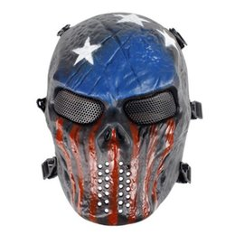 Airsoft Full Face Masks Wholesale UK - Christmas Full Face Masquerade Eco Friendly Horror Skull Protect Mask Movie Prop Airsoft Plastic Flexible Payty Mask CCA10281 20pcs
