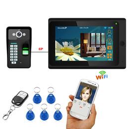 Discount rfid doors - Mountainone 7 inch One to One Wired Wireless Wifi Fingerprint RFID Password Video Door Phone Doorbell Remote APP unlocki