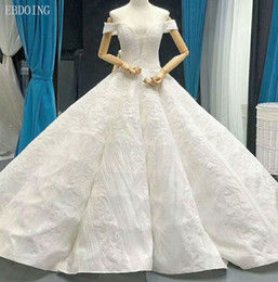 $enCountryForm.capitalKeyWord NZ - EBDOING Charming Ball Gown Wedding Dress Deep V-neck Short Sleeves Chapel Train Plus Size Lace Up Custom Made With Sequins Bridal Gown