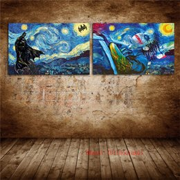 $enCountryForm.capitalKeyWord Australia - Batman Starry Night Vincent Van Gogh , Canvas Pieces Home Decor HD Printed Modern Art Painting on Canvas (Unframed Framed)