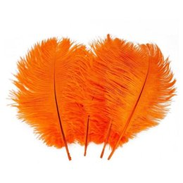 ostrich plumes feather UK - Wholesale 100pcs lot 14-16inch(35-40cm) orange ostrich feathers plumes for Wedding centerpieces wedding party table decor z134