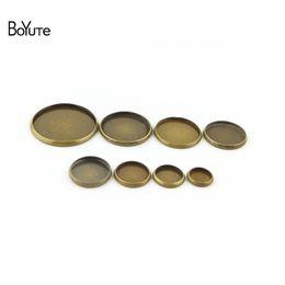 Round Copper Trays UK - BoYuTe 100Pcs Round 8MM 10MM 12MM 14MM 16MM 18MM 20MM 25MM Cameo Cabochon Base Vintage Bronze Diy Blank Tray Bezel Setting