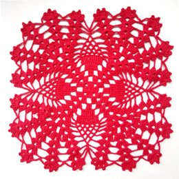 CroChet square doilies online shopping - Red Square Crochet Doily Red Pineapple Doilies Lace Crochet Doily Table Decoration Cotton Doily Table Topper Christmas Decor