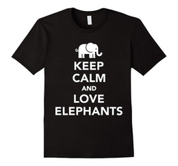 $enCountryForm.capitalKeyWord Australia - Keep Calm and Love Elephants T-shirt 2017 Short Sleeve Cotton T Shirts Man Clothing Low Price Round Neck Men Tees Top Tee
