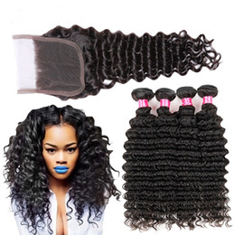 curly peruvian hair bundles closures 2019 - Pertar Hair Brazilian Deep Curly 3 Bundles with Closure Wet and Wavy Human Hair Bundles with Lace Closure Deep Wave Hair