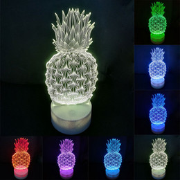 Discount pineapple table lamps - Pineapple 3d Lamp Creative Small Table Lamp Acrylic LED Night Light Touch 7 Color Change Desk Table Lamp Party Decorativ