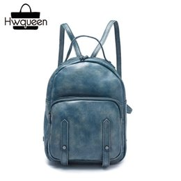 Vintage Style Hand Painted Genuine Leather Zipper Closure Woman Small  Travel Backpack Natural Soft Cowhide Girls Casual Backpack 279a0bd308c98
