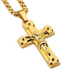 Big Cross Chain NZ - Fashion Men Jesus Cross Pendant Big Necklaces 18k Gold Plated Long Chains 75cm Filling Pieces Hip Hop Jewelry Gift