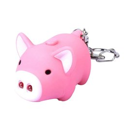 silver sounds 2019 - Cute Pig Keyring Keychain LED Light Touching with Sound Car Bag Pendant Charm Decoration Gift cheap silver sounds