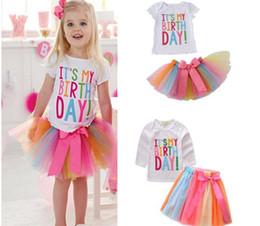 Wholesale birthday shirts online – design 50set Baby girls It s my birthday children gift letter white T shirt tutu shorts rainbow skirts girl s clothing set Y159