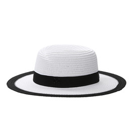 Moda para mujer Sombrero para el sol de paja Sombrero clásico Cap Chic  Verano Primavera Visera de playa Sólido Sombrero de paja Sombrero de ala  Sombrero ... 5d0b190736c
