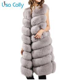 Discount furry vest women - Lisa Colly New Women's Faux Fur Vest Coat Furry Fake Fur Winter Warm vest coat Jacket Luxury Outerwear Fox Long