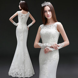 Wholesale Scoop Neck Lace Tulle Mermaid Wedding Dresses New Floor Length Wedding Gown Lace Up Bridal Dresses