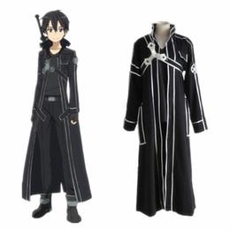 83556296ea Sword Art Online SAO Kazuto Kirigaya Kirito COSPLAY Costume Full Set For  Men Anime Halloween Costumes Cartoon Costume