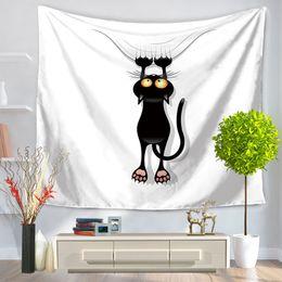 $enCountryForm.capitalKeyWord NZ - 5 Designs 150*130cm Tapestries Black Cats Pattern Beach Tapestry Polyester Wall Carpet Living Room Throw Yoga Mat Towel Beach Shawl
