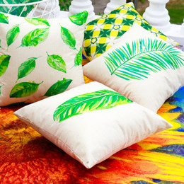 Discount car spring cushion - New Multicolor 16 Styles Pillowcase Hot Cotton Flax Spring Green Plant Leaves Series Pillow Case Sofa Cushion Cover Car