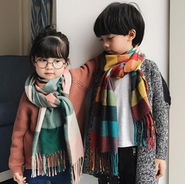 warming scarf Canada - Autumn winter warm children scarf imitation cashmere plaid kids scarves boy and girl comfortable neckerchief pashmina