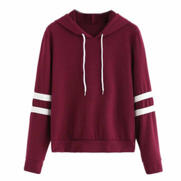 f4c93a3a4bec Womens Fashion Hoodie Autumn Winter Long Sleeve Sweatshirt Jumper Red Hooded  Patchwork Stripe Drawstring Pullover  VE
