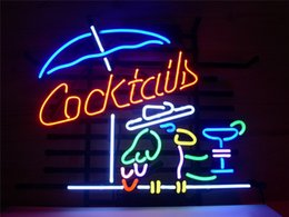 "China NEON SIGN For COCKTAIL PARROT COCKTAILS Signboard REAL GLASS BEER BAR PUB display outdoor Light Signs 17*14"" supplier parrot display suppliers"