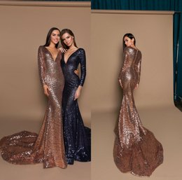 $enCountryForm.capitalKeyWord Australia - Gold Sequined Evening Dresses Deep V Neck Sequins Mermaid Pageant Gowns Long Sleeve Prom Dress Navy Blue Formal Party Gowns Sweep Train