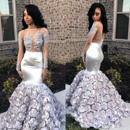 $enCountryForm.capitalKeyWord Australia - Charming Silver Prom Dresses 3D Flowers Mermaid Illusion Long Sleeves Evening Gowns Lace Appliques Sweep Train South African Party Dress