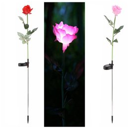 solar powered roses 2019 - Rose Flower Solar Power LED Light Waterproof Outdoor Garden Yard Lawn Landscape Balcony Decorative Lamp Energy-saving DD