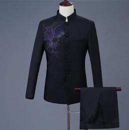5ed15d7d1 Stand collar Blazer men formal dress latest coat pant designs marriage suit  men Paste drill Chinese tunic suits for men's black