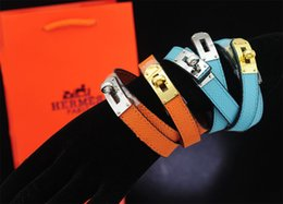 $enCountryForm.capitalKeyWord Australia - linlin Celebrity Design Letter Buckle Bracelet Real Leather Fashion Leather Clover Cuff Bracelets Jewelry With Box