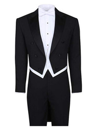 Wholesale tailcoat tuxedo back resale online - Black White Tailcoat Wedding Suit Peak Lapel Pieces Jacket Pants Vest Bow Tie Men Suits for Evening Party Homecoming Prom Tuxedos