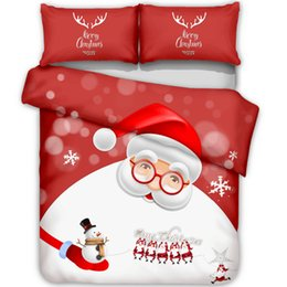 Discount 3d christmas bedding sets - Christmas Bedroom Decoration Reindeer Santa Printed Duvet Cover Pillowcase Bedding Set Kids Bedding (No Filling)