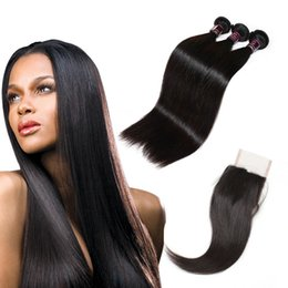 straight peruvian hair weave 2019 - Silky Straight Wholesale Peruvian Human Hair Weaves Best 10A Brazilian Hair Bundles With Closure 3Bundles With Lace Clos