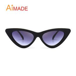 82419dc99afc Aimade 2018 Fashion Clear Lens Small Cat Eye Sunglasses Women Vintage Black  White e Cateye Sun Glasses For Female UV400