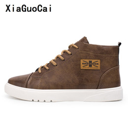 korean cowboy boots leather men 2019 - XiaGuoCai High quality Man Casual Boots Solid Sewing Round Toe Wild Stylish fashion Korean Leather Boots vintage waterpr