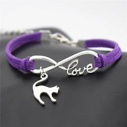 $enCountryForm.capitalKeyWord Australia - New Fashion Infinity Love Cute Animal Elegant Cat Pendant Jewelry Purple Leather Suede Rope Bracelet Bangles For Men Women Gift Special Sale