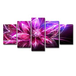 Modern Red Floral Art UK - 5 Pieces Abstract Red Flower Wall Art Picture Modern Home Decoration Living Room Or Bedroom Canvas Print Painting Wall Picture