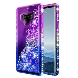 nota caso de arenas movedizas al por mayor-Para Samsung Note Funda Luxury Glitter Quicksand Liquid Floating Flowing Sparkle Shiny Bling Diamond Fundas para móviles para Samsung Galaxy Note