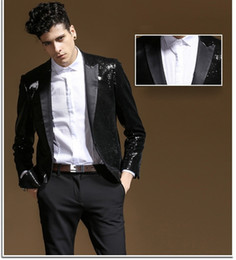 $enCountryForm.capitalKeyWord NZ - New Design Black Sequined Wedding Tuxedos High Quality Slim Fit Groomsmen Suit Custom Made Prom Party Suit Performance Suits(Jacket+Pant)